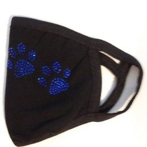 Black Cotton Mask with Rhinestone Paw